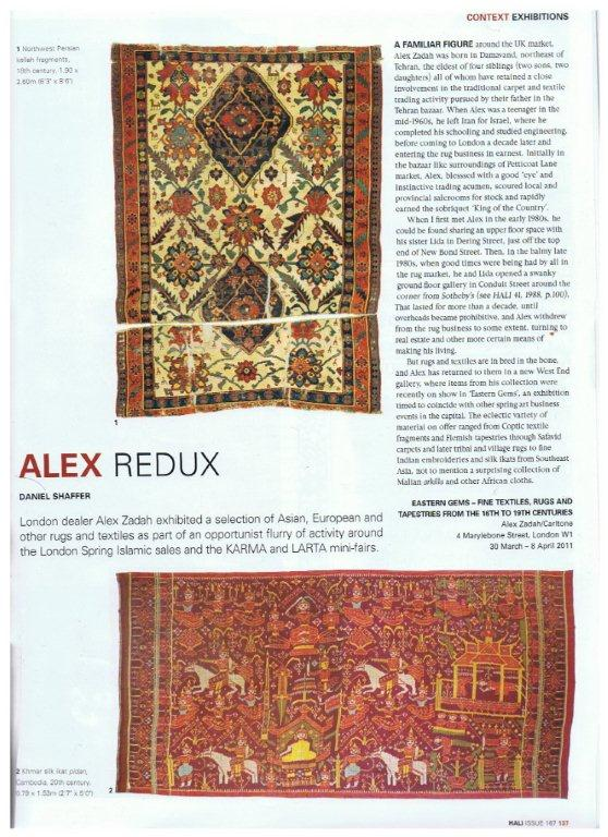 Zadah's Eastern Gems Ancient Textile Exhibition Reviewed in Hali Magazine