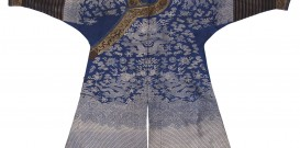 Blueground robe with silver thread embroidered dragons and horseshoe sleeves