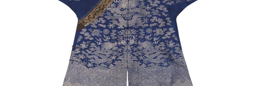 Blue Ground Robe With Silver Thread Embroidered Dragons