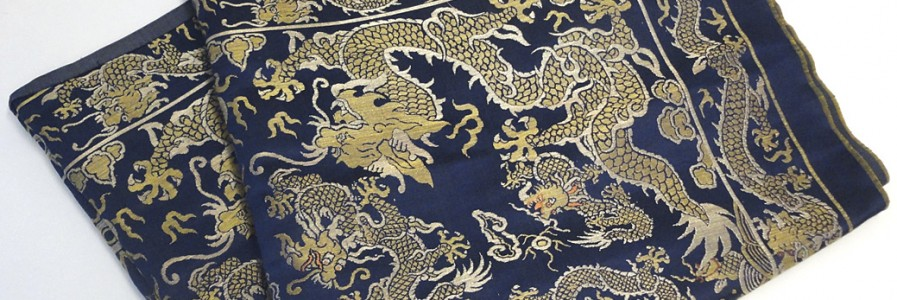 Fine Woven Blue Ground Silk Textile With Dragons