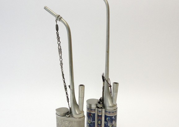 Two waterpipes, with cloisonné-decor showing rabbits and cranes. Chinese, late Qing dynasty